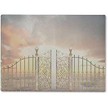 Gear New Glass Cutting Board and Serving Dish, Cloud Gate Pearly Gates Landscape, For Kitchen and Dining, 15x11, 5504575GN