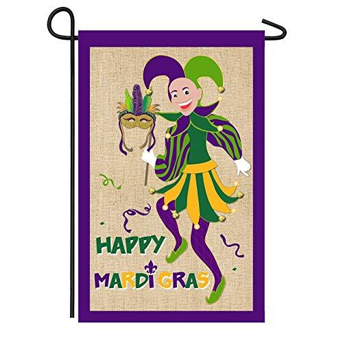- Evergreen Mardi Gras Jester Burlap Garden Flag
