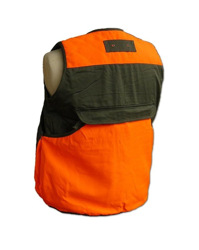Chaleco de caza, chaleco de ojeador, chaleco reflectivo, cacería de ojeo y de batida, guías de perros, rastreo, color verde/naranja, tamaño extra-large: ...