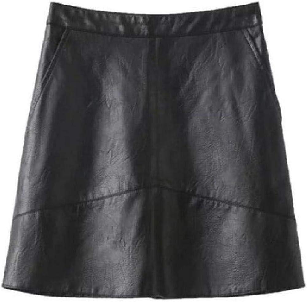 NObrand Falda de Cuero Casual para Mujer Falda Mini Elegante de una línea Faldas de Cintura Alta Ajustadas para Mujer