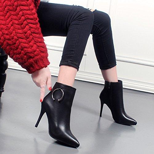 KHSKX-Qiu Dongkuan Señaló Botas De Tacón Alto Super Mujer Con Un Fino Negro Señoras De Moda Martin Botas Plus Cotton Boots black