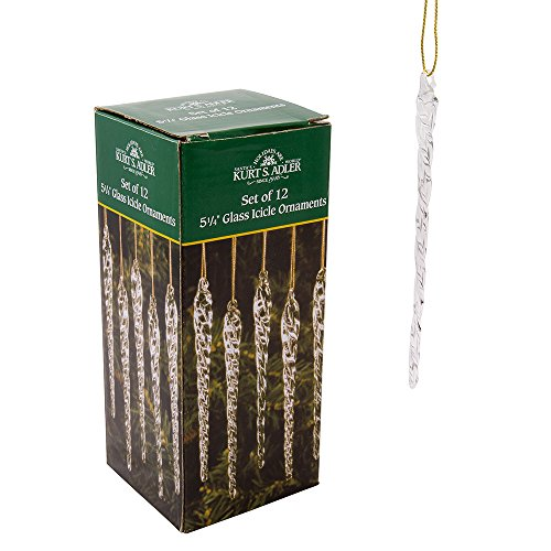 Kurt Adler 5-1/4-Inch Glass Icicle Ornament 12-Piece Box Set, Clear, 1 Pack ()