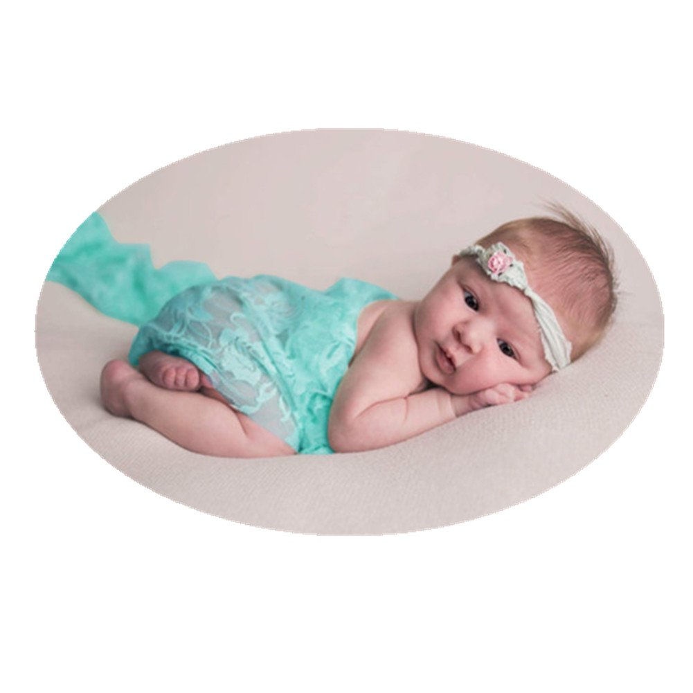 Newborn Baby Photo Props Blanket Backdrop Lace Wrap for Boy Girls Photography Shoot (Light Green)