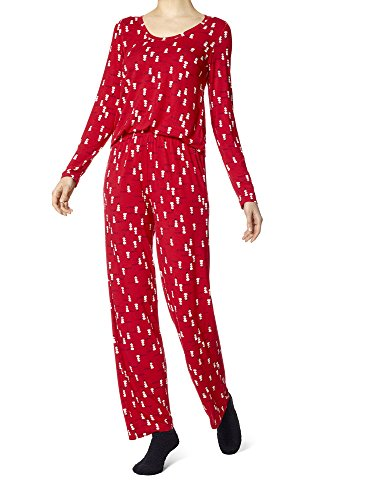 HUE Women's Mini Character Printed Rayon Tee and Pant 3 Piece Pajama Set, Tango red/Snowman at Sunset, Small