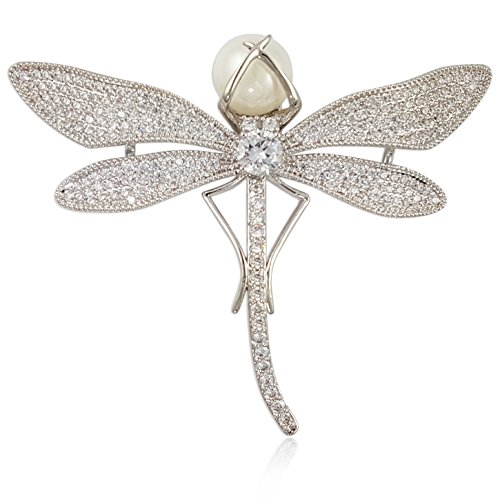 (Crystal Pearl Dragonfly Brooch PIN Made with Swarovski Elements)