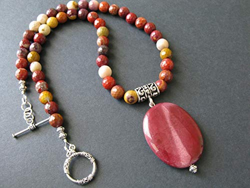 - Beaded Mookaite Jasper Red Pendant Necklace Natural Stone Multicolor Artisan Jewelry for Women