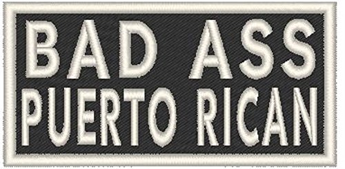 BAD ASS PUERTO RICAN Iron-on Patch Biker Emblem WHITE Border