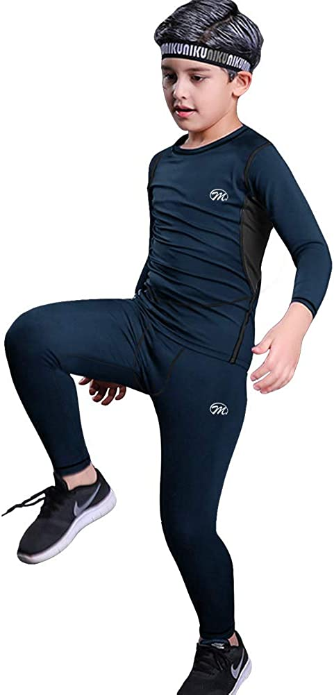 MeetHoo Thermal Underwear Set for Boys, Fleece Lined Long Johns Soft Warm Base Layer for Kids (Size 8-16 Years)