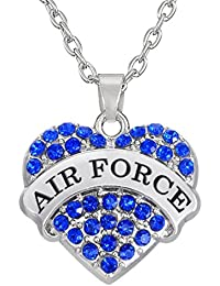 Blue Rhinestone Air Force Heart Necklace, Crystal Heart Jewelry