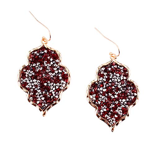 Rhinestone Dangle Pendant - StylesILove Womens Trendy Pave Rhinestone Long Chain Quatrefoil Pendant Necklace Dangle Earrings (Gold Clear - Earrings)
