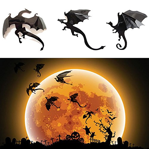 Dazonge Dragon Wall Decals-7 Pack Lot Game of Thrones Spired DIY Halloween Gothic 3D Removable Dragon Wall Stickers for Wall Decor,Home Decoration.