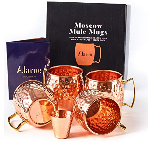 - Moscow Mule Copper Mugs Set - 4 Authentic Handcrafted Mugs (16 oz.) with Shot Glass (2 oz.) - Food Safe Pure Solid Copper Mugs - Gift set with Recipe Book Included