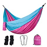 Parachute Nylon Hammock with Ropes & Carabiners ¨C Military-Grade Outdoor Camping Equipment ¨C Portable, Lightweight and Weather resistant ¨C Great for Traveling, Backpacking, Park, Backyard(pink) ()