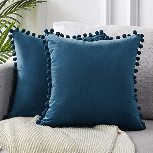 Blue Pillow Cover - Top Finel Decorative Throw Pillow Covers Soft Particles Velvet Solid Cushion Covers 16 X 16 for Couch Bedroom Car, Pack of 2, Navy