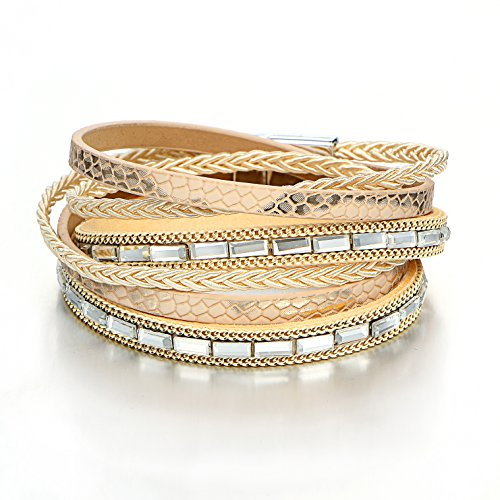 17mile Yellow Multilayer Leather Wrap Beaded Boho Crystal Rhinestone Shin Bracelet Magnetic Clasps for Bracelets Gifts for Women