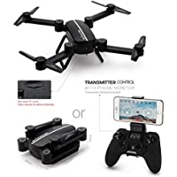 Leewa@ 3xBatteries+Q9W Foldable Quadcopter MINI WIFI 720P HD Camera RC 2.4Ghz RTF Drone with Headless Mode/Altitude Hold/Gravity Sensor Functions -Black
