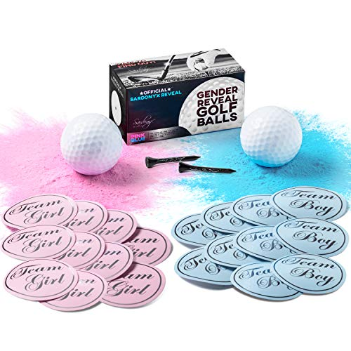Gender Reveal Golf Balls Exploding with Both Pink and Blue Vibrant Powder | Complete 24 Piece Set + Bonus Golf Tees & 20 Team Stickers, 10 Team Pink (Girl) 10 Team Blue (Boy) -