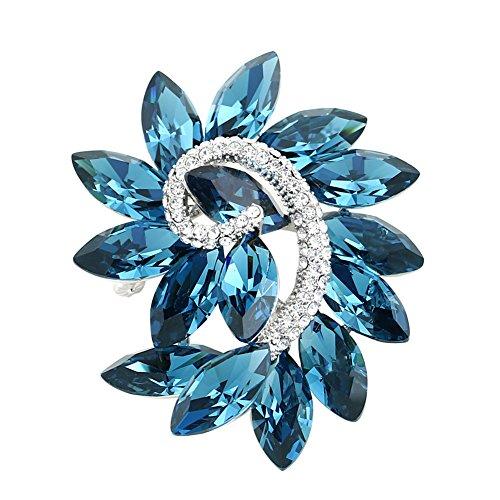 (Women Girl Rhinestone Crystal Brooch Pendant Dual Use Diamond Brooch Pins Platinum Plated)