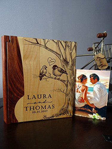- Personalized Wood Cover Photo Album, Custom Engraved Wedding Album, Style 127B (Maple & Rosewood Cover)
