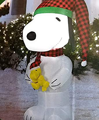 Peanuts Snoopy//Woodstock Christmas Airblown Inflatable Stocking//Antlers 10/' New