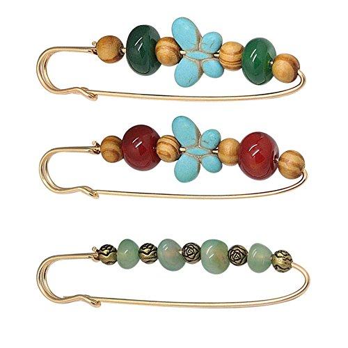 Joyci A Set Agate Gem Brooch Carnelian Unique Pins Fashion Color Wood Bead Brooch Pins Exotic Charm (B)