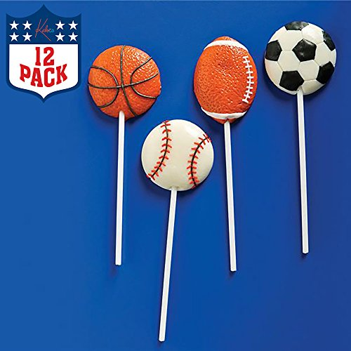 "2"" Sports Ball Lollipops - Pack of 12 Assorted Fruit-Flavored Candy Suckers for Party Favors, Cake Decorations, Novelty Supplies or Treats for Halloween, Christmas, Baby Showers by Kidsco -"
