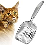SunGrow Maine Coon Cat Litter Scoop, 14 x 5.6 x 1.6 Inches, Stainless Steel Shovel with No Scatter Sides, Gray Rubber Coated Handle, Easily and Efficiently Manage Pet's Litter Box, 1pc