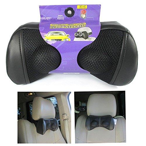 1 Head Neck Car Pillow Travel Auto Seat Rest Leather Cushion Pad Headrest Bone