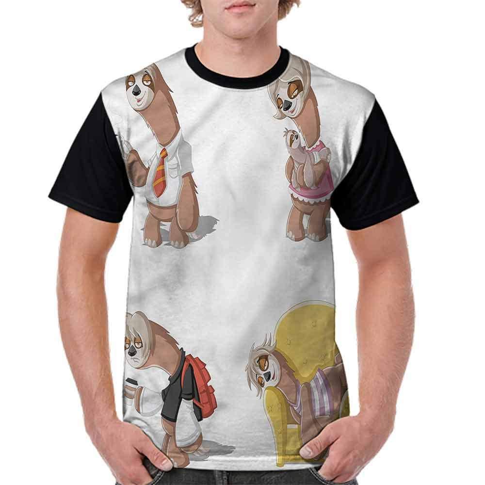 Performance T-Shirt,Lazy Sloth Family Cartoon Fashion Personality Customization