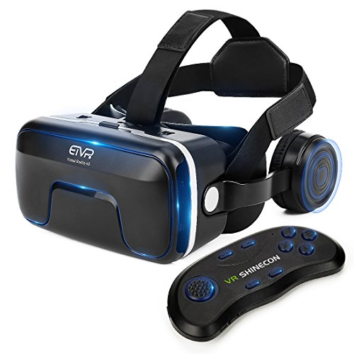 VR Headset with Remote Controller Immersive 3D VR Glasses Virtual Reality Headset with Stereo Headphone and Adjustable Headstrap for 3D Movies & VR Games, Fit for 4.7 - 6.0 inch IOS/Android Smartphone
