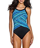 Miraclesuit Women's Night Lights One Piece High Neck Swimsuit Blue 16