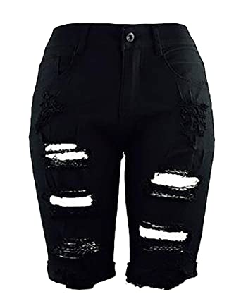 d82047734d9a JWK Women's Bermuda Shorts Mid Rise Stretchy Knee Length Jeans Destroyed  Denim Shorts Black XX-