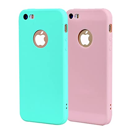 Funda iPhone 5, Carcasa iPhone 5S Silicona Gel, OUJD Mate Case Ultra Delgado TPU Goma Flexible Cover para iPhone 5/SE - Cielo azul + rosa