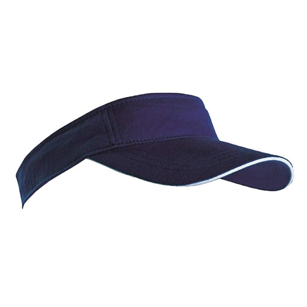 1168f360287 SPORTS SUN VISOR SANDWICH PEAK GOLF TENNIS CAP HAT - 12 COLOURS (MB6123)  (BLACK   WHITE)  Amazon.co.uk  Clothing