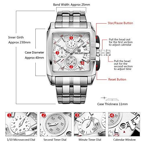MEGIR Fashion Square Dial Watches Men Luxury Stainless Steel Watch Man Military Sports Wristwatch Waterproof Luminous Hands