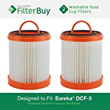 2 - Eureka DCF-3 Washable and Reusable HEPA Filters. Designed by FilterBuy to Replace Eureka Part #'s 61825, 62136, 62136A, DCF3.