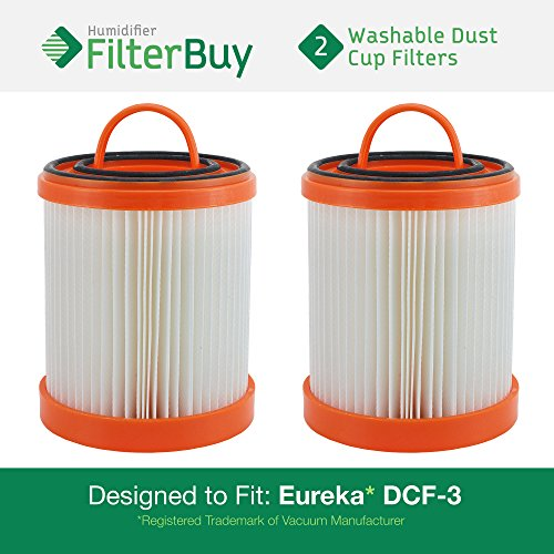 2 - Eureka DCF-3 Washable and Reusable HEPA Filters. Designed by FilterBuy to Replace Eureka Part #'s 61825, 62136, 62136A, DCF3. ()