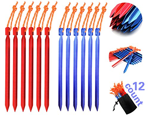 Aluminum Tent Stakes (Eaglesight 12 Pack Tri-beam Ultralight Aluminum Tent Stakes With Reflective Pull Cords-Tent pegs,Heavy Duty For Camping Hiking. (22))