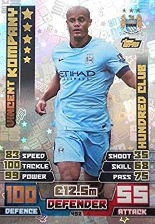 d1020691941 Match Attax 2014 2015 Vincent Kompany Hundred 100 Club 14 15  Amazon.co.uk   Toys   Games