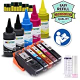 INKUTEN - 5 Refillable Cartridges for T410 410XL (Prefilled) with extra 5x100ml Dye Ink Bottle Set compatible with expression premium XP-630 XP-830 XP-640 XP-530 XP-635