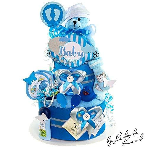 MomsStory - Windeltorte Junge   Teddy Bä r   Geschenk zur Geburt, Taufe, Babyshower   2 Stö ckig (Blau) Windeltortezurgeburt.de / by Ludmila Knaub 1.107