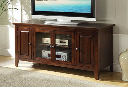(Major-Q 9010346 Transitional Contemporary Style Chocolate Finish Rectangular Wooden Top and Frame TV Stand)