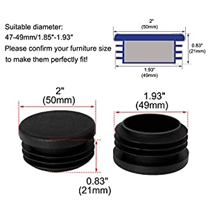 """uxcell 50mm 2"""" OD Plastic Tube Inserts Pipe End Cover Caps, 1.85""""-1.93"""" Inner Dia, for Furniture Metal Table Legs"""