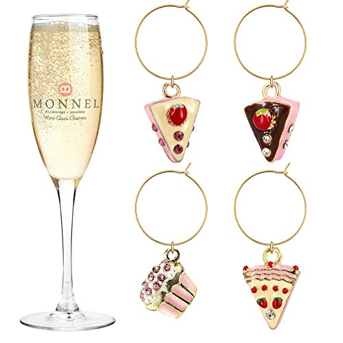 P415 Cute Crystal Pink Cake Cupcake Wine Charms Glass Marker for Party with Velvet Bag- Set of 4