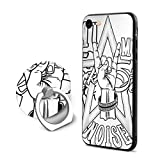 SJDEI5W Rock and Roll Hand Sign Mobile Phone Ring Stent + iPhone 8 Case/iPhone 7 Case, PC Rubber Case Compatible iPhone 8 2017/ iPhone 7