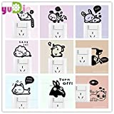 HATABO Anybody Home Melaminic Furniture 1pcs Cute Little Animals Black cat Creative Switch Wall Stickers Home Decor Living Room Bedroom Children's Room Switch Stickers (Random)