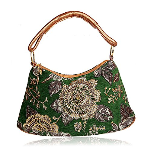 Evening Prom Flower Red Women Shoresu Green Party Fashion Clutch Banquet Purse Handbag Bag Beaded tS1w6nA0wq