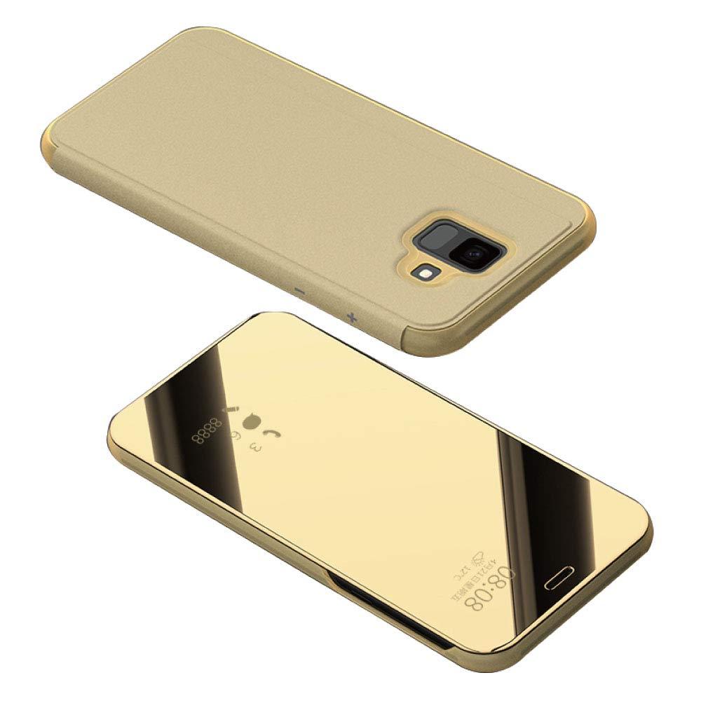 Dfly Galaxy A6 Plus 2018 Specchio Placcatura Flip Custodia, Premium Finestra Visualizza Traslucido Ultra Sottile Hard Anti-Scratch Verticale Antiurto Cover Protettiva per Samsung Galaxy A6 Plus 2018, Oro A6Plus2018-006