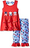 Nannette Little Girls' 2-Piece Americana Short Set with Applique, Red, 6