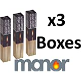 Manor Long Fireside Matches x 3 Packs For Lighting Real Fires #1961